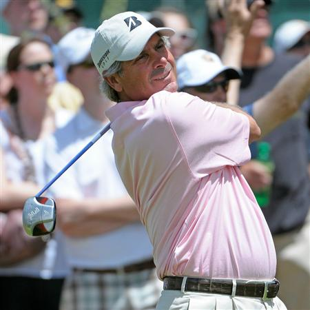 PARKER, CO. - MAY 29: Fred Couples tees off the 10th hole during the third round of the Senior PGA Championship at the Colorado Golf Club on May 29, 2010 in Parker, Colorado.  (Photo by Marc Feldman/Getty Images)