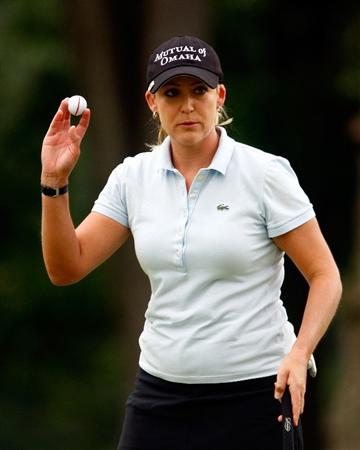 BETHLEHEM, PA - JULY 11:  Cristie Kerr waves to the gallery on the third green during the third round of the 2009 U.S. Women's Open at the Saucon Valley Country Club on July 11, 2009 in Bethlehem, Pennsylvania.  (Photo by Scott Halleran/Getty Images)