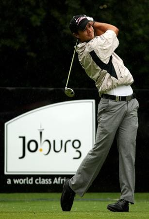 JOHANNESBURG, SOUTH AFRICA - JANUARY 11:  Tyrone Van Aswegen of South Afrcia tee's off at the 1st during the final round of the Joburg Open at Royal Johannesburg and Kensington Golf Club on January 11, 2009 in Johannesburg, South Africa.  (Photo by Richard Heathcote/Getty Images)