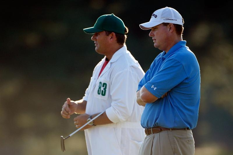 AUGUSTA, GA - APRIL 11:  Kenny Perry waits with his caddie Fred Sanders on the 18th round of the 2009 Masters Tournament at Augusta National Golf Club on April 11, 2009 in Augusta, Georgia.  (Photo by Jamie Squire/Getty Images)