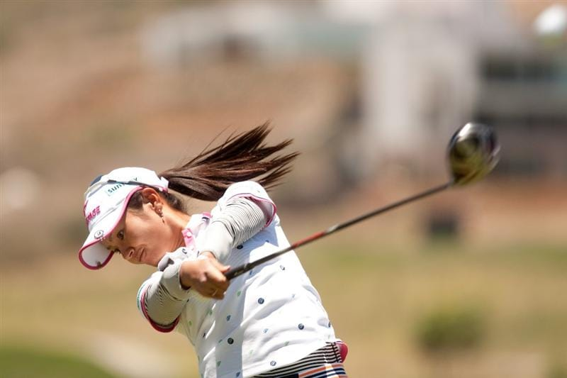 MORELIA, MEXICO - MAY 01: Ai Miyazato of Japan follows through on a tee shot during the third round of the Tres Marias Championship at the Tres Marias Country Club on May 1, 2010 in Morelia, Mexico. (Photo by Darren Carroll/Getty Images)