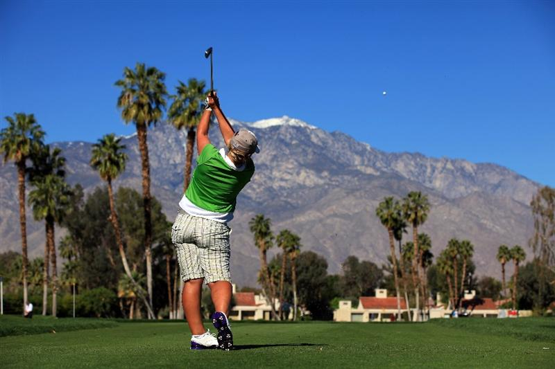 RANCHO MIRAGE, CA - MARCH 31:  Karen Stupples of England plays her tee shot at the par 3, 5th hole during the first round of the 2011 Kraft Nabisco Championship on the Dinah Shore Championship Course at the Mission Hills Country Club on March 31, 2011 in Rancho Mirage, California.  (Photo by David Cannon/Getty Images)