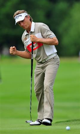 MUNICH, GERMANY - JUNE 27:  Bernhard Langer of Germany reacts to his putt on the 13th hole during the third round of The BMW International Open Golf at The Munich North Eichenried Golf Club on June 27, 2009, in Munich, Germany.  (Photo by Stuart Franklin/Getty Images)