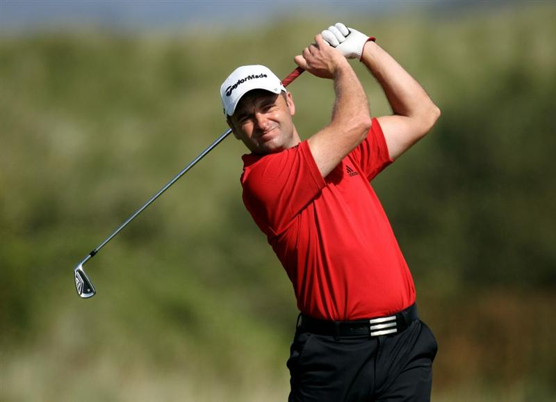 HARLECH, WALES - SEPTEMBER 01:  Sion Bebb of Wales during the second round of the RCW2010 Welsh National PGA Championship at the Royal St. David's Golf Club on September 1, 2010 in Harlech, Wales.  (Photo by Ross Kinnaird/Getty Images)