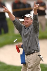 Tripp Isenhour celebrates his win on the 18th green in the Nationwide's TOUR 2006 Livermore Valley Wine Country Championship at The Course at Wente Vineyards in Livermore, California April 2, 2006.Photo by Steve Grayson/WireImage.com