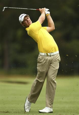MELBOURNE, AUSTRALIA - NOVEMBER 14:  Steve Jones of Australia hits a shot during round four of the Australian Masters at The Victoria Golf Club on November 14, 2010 in Melbourne, Australia.  (Photo by Lucas Dawson/Getty Images)