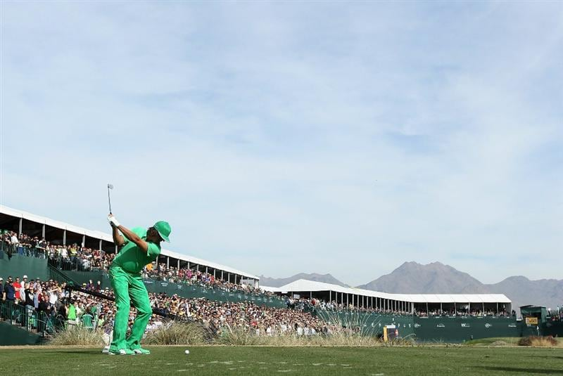 SCOTTSDALE, AZ - FEBRUARY 05:  Rickie Fowler hits a tee shot on the 16th hole during the second round of the Waste Management Phoenix Open at TPC Scottsdale on February 5, 2011 in Scottsdale, Arizona.  (Photo by Christian Petersen/Getty Images)