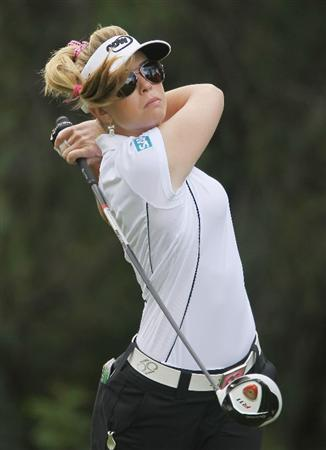 CITY OF INDUSTRY, CA - MARCH 25:  Paula Creamer watches her tee shot on the 14th hole during the second round of the Kia Classic on March 25, 2011 at the Industry Hills Golf Club in the City of Industry, California.  (Photo by Scott Halleran/Getty Images)