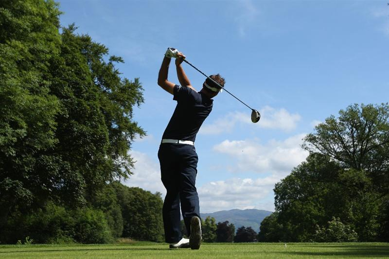 LUSS, UNITED KINGDOM - JULY 11:  Nick Dougherty of England tees off on the 16th hole during the Third Round of The Barclays Scottish Open at Loch Lomond Golf Club on July 11, 2009 in Luss, Scotland. (Photo by Andrew Redington/Getty Images)