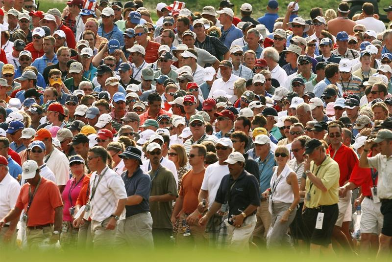 LOUISVILLE, KY - SEPTEMBER 20:  Fans watch the play during the afternoon four-ball matches on day two of the 2008 Ryder Cup at Valhalla Golf Club on September 20, 2008 in Louisville, Kentucky.  (Photo by David Cannon/Getty Images)