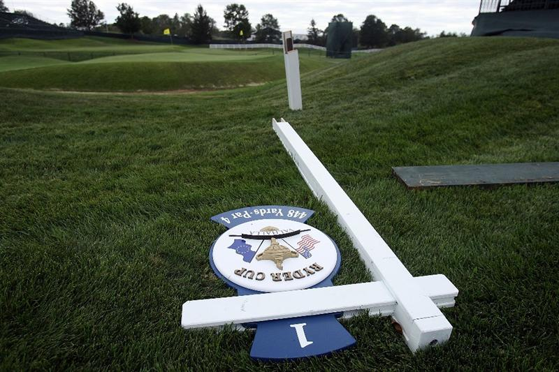 LOUISVILLE, KY - SEPTEMBER 14:  A hole marker lays on the ground during high winds prior to the 37th Ryder Cup at Valhalla Golf Club on September 14, 2008 in Louisville, Kentucky.  (Photo by Andy Lyons/Getty Images)
