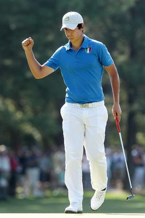 AUGUSTA, GA - APRIL 08:  Matteo Manassero of Italy celebrates his birdie on the first hole during the first round of the 2010 Masters Tournament at Augusta National Golf Club on April 8, 2010 in Augusta, Georgia.  (Photo by Andrew Redington/Getty Images)
