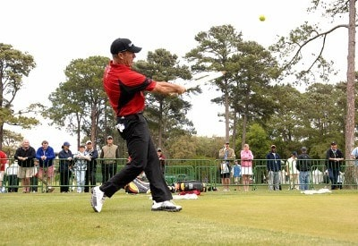 Peter Lonard joins other players in an impromptu game of cricket on the practice green as they during suspension of play in the final round of the 2007 Verizon Heritage at Harbour Town Golf Links in Hilton Head, South Carolina on April 15, 2007. PGA TOUR - 2007 Verizon Heritage - Final RoundPhoto by Steve Grayson/WireImage.com
