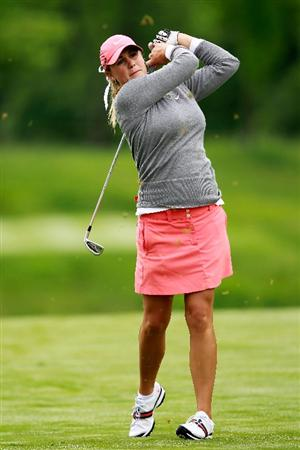 GLADSTONE, NJ - MAY 19:  Amanda Blumenherst hits her second shot on the second hole during round one of the Sybase Match Play Championship at Hamilton Farm Golf Club on May 19, 2011 in Gladstone, New Jersey.  (Photo by Chris Trotman/Getty Images)