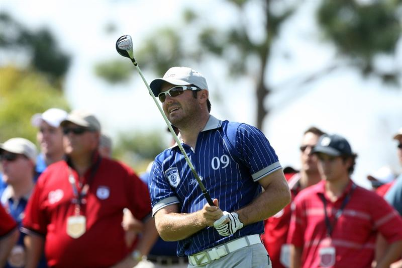 ORLANDO, FL - MARCH 16:  Trevor Immelman of South Africa and Lake Nona plays his second shot at the 2nd hole during the first day of the 2009 Tavistock Cup at the Lake Nona Golf and Country Club, on March 16, 2009 in Orlando, Florida  (Photo by David Cannon/Getty Images)