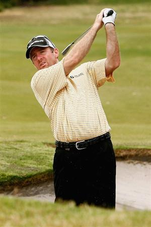 MELBOURNE, AUSTRALIA - NOVEMBER 26:  Rod Pampling of Australia plays out of the bunker on the seventh hole during the Australian Masters pro-Am ahead of the Australian Masters at Huntingdale Golf Club on November 26, 2008 in Melbourne, Australia.  (Photo by Quinn Rooney/Getty Images)