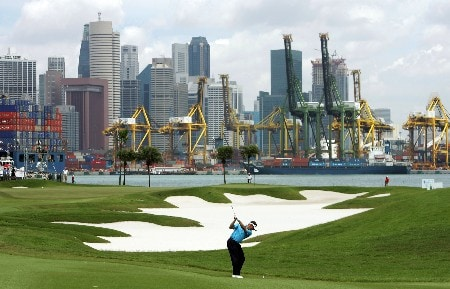 SINGAPORE - NOVEMBER 04:  Lee Westwood of England plays his 2nd shot on the 5th hole during the final round of the Barclays Singapore Open at Sentosa Golf Club on November 4, 2007 in Singapore.  (Photo by Ian Walton/Getty Images)