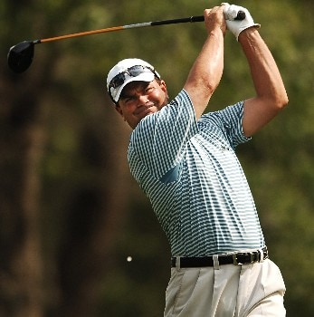 Jay Williamson hits from the sixth tee during the second round of the 2005 Shell Houston Open, at the Redstone Golf Club in Houston, Texas April 22, 2005.Photo by Steve Grayson/WireImage.com