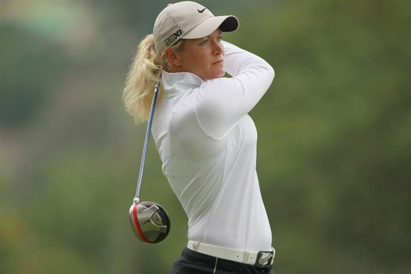 RIO DE JANEIRO, BRAZIL - MAY 28:  Suzann Pettersen of Norway watches her tee shot on the ninth hole during the first round of the HSBC LPGA Brazil Cup at the Itanhanga Golf Club on May 28, 2011 in Rio de Janeiro, Brazil.  (Photo by Scott Halleran/Getty Images)