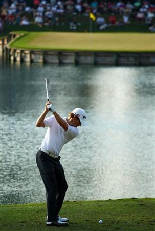 PONTE VEDRA BEACH, FL - MAY 08:  Heath Slocum hits his tee shot into the water on the 17th hole during the third round of THE PLAYERS Championship held at THE PLAYERS Stadium course at TPC Sawgrass on May 8, 2010 in Ponte Vedra Beach, Florida.  (Photo by Richard Heathcote/Getty Images)