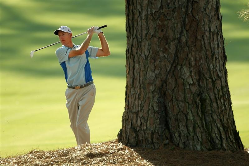 AUGUSTA, GA - APRIL 07:  Jim Furyk hits an approach shot from the rough on the 17th hole during the first round of the 2011 Masters Tournament at Augusta National Golf Club on April 7, 2011 in Augusta, Georgia.  (Photo by Jamie Squire/Getty Images)