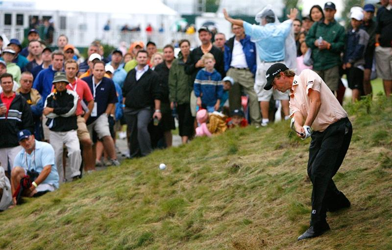 JERSEY CITY, NJ - AUGUST 28:  Webb Simpson plays from the rough on the 18th hole during round two of The Barclays on August 28, 2009 at Liberty National in Jersey City, New Jersey.  (Photo by Kevin C. Cox/Getty Images)