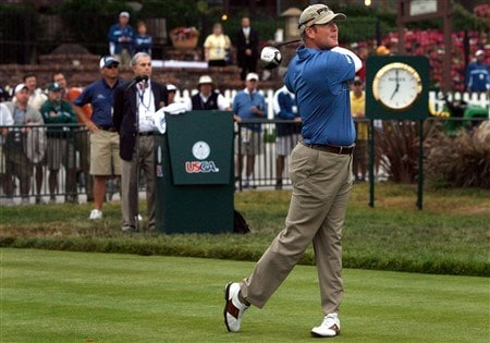 SAN DIEGO - JUNE 12:  D.A. Points tees off the first hole to start the first round of the 108th U.S. Open at the Torrey Pines Golf Course (South Course) on June 12, 2008 in San Diego, California.  (Photo by Jeff Gross/Getty Images)
