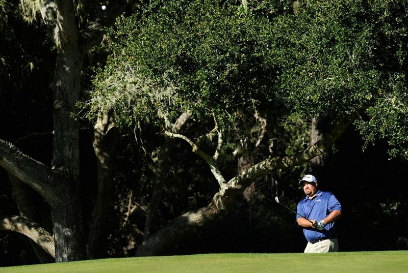 PEBBLE BEACH, CA - FEBRUARY 12:  Brendon De Jonge plays his chip shot on the seventh hole during the third round of the AT&T Pebble Beach National Pro-Am at the Spyglass Hil Golf Course on February 11, 2011  in Pebble Beach, California  (Photo by Stuart Franklin/Getty Images)