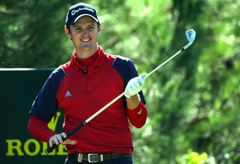 SOTOGRANDE, SPAIN - OCTOBER 29:  Justin Rose of England smiles as he prepares to tee off on the third hole during the Pro Am prior to the start of the Volvo Masters at Valderrama Golf Club on October 29, 2008 in Sotogrande, Spain.  (Photo by Andrew Redington/Getty Images)