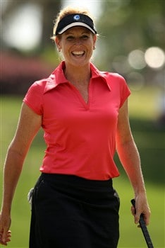 REUNION, FLORIDA - APRIL 17:  Stephanie Sparks, of The Golf Channel, smiles after making a birdie on the second hole during the first round of the Ginn Open at Reunion Resort April 17, 2008 in Reunion, Florida.  (Photo by Scott Halleran/Getty Images)