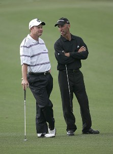 Joe Durant and Corey Pavin during the second round of THE PLAYERS Championship held at the TPC Stadium Course in Ponte Vedra Beach, Florida on March 24, 2006.Photo by Sam Greenwood/WireImage.com