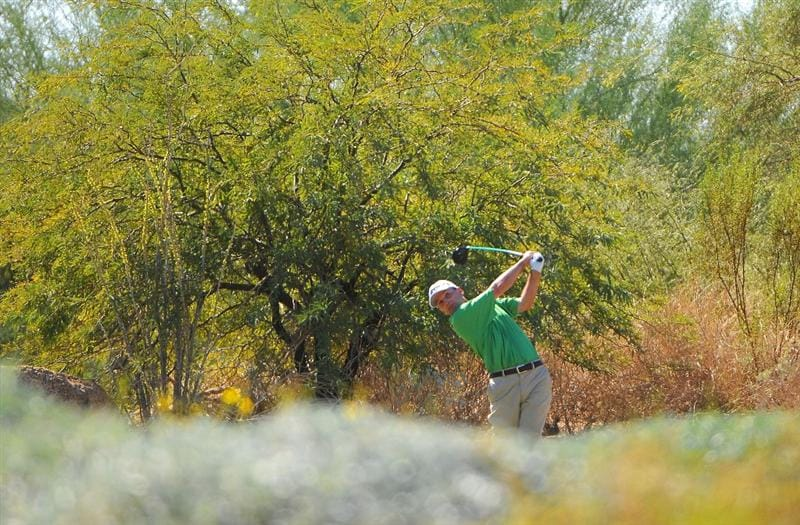 SCOTTSDALE, AZ - OCTOBER 26: Kevin Sutherland tees off the 4th hole during the fourth and final round of  the Fry's.Com Open held at Grayhawk Golf Club on October 26, 2008 in Scottsdale, Arizona. (Photo by Marc Feldman/Getty Images)