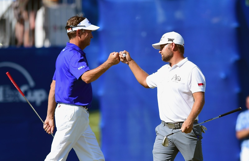 Davis Love III and Ryan Moore