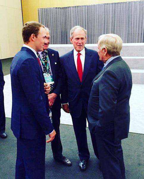 Jordan Spieth, George W. Bush and Jack Nicklaus