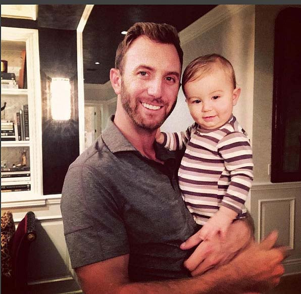 Dustin Johnson and his son Tatum
