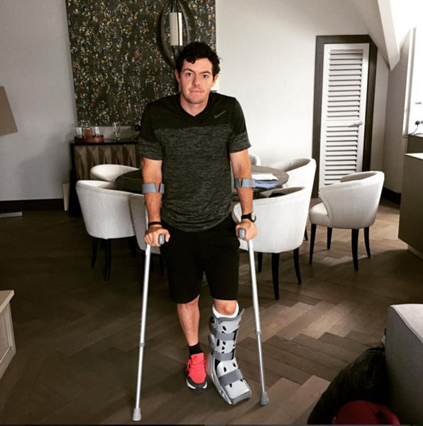 3. Rory McIlroy ruptures ankle ligament