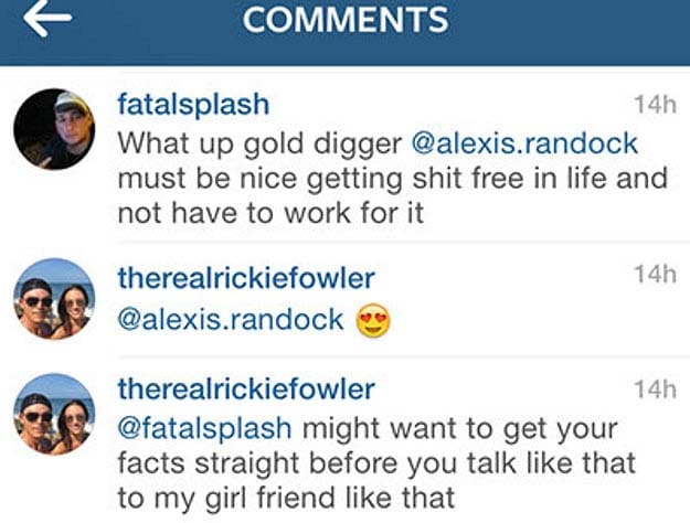 Rickie Fowler coming to girlfriend's defense on Instagram