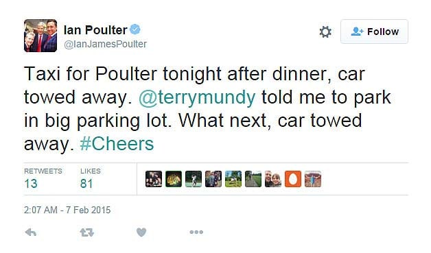 Ian Poulter getting his courtesy car towed while at dinner