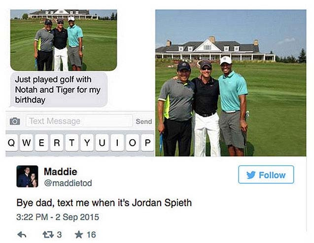 Girl was didn't care about her dad playing with Tiger Woods