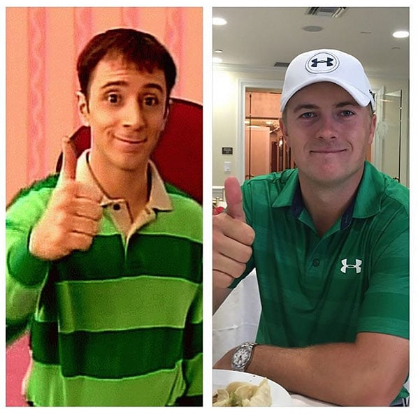 Jordan Spieth and Steve from Blue's Clues