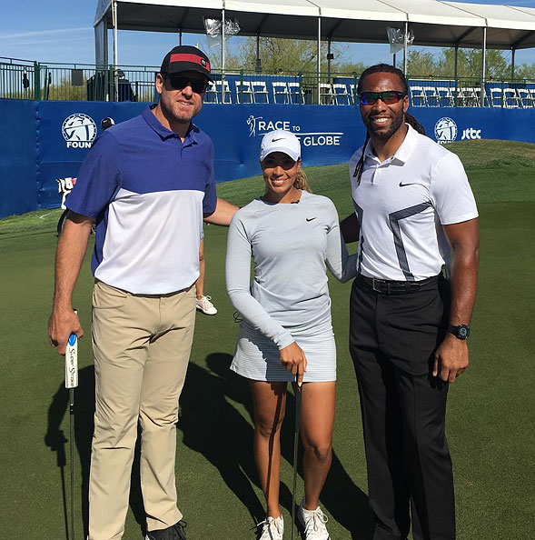 Cheyenne Woods, Carson Palmer and Larry Fitzgerald