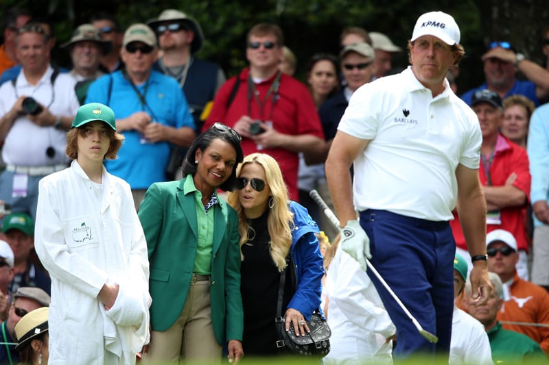 Phil, Amy and Evan Mickelson and Condoleezza Rice