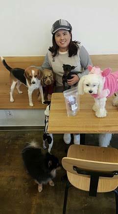 Inbee Park at the dog cafe