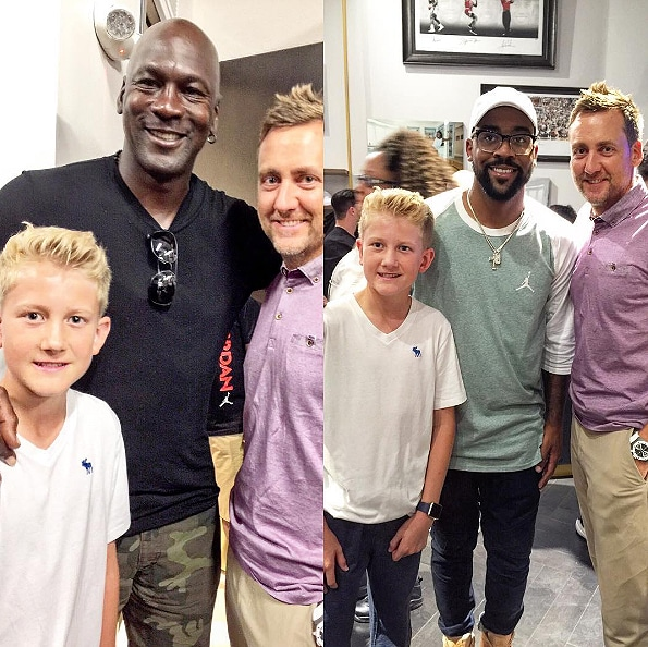Ian and Luke Poulter with Michael and Marcus Jordan