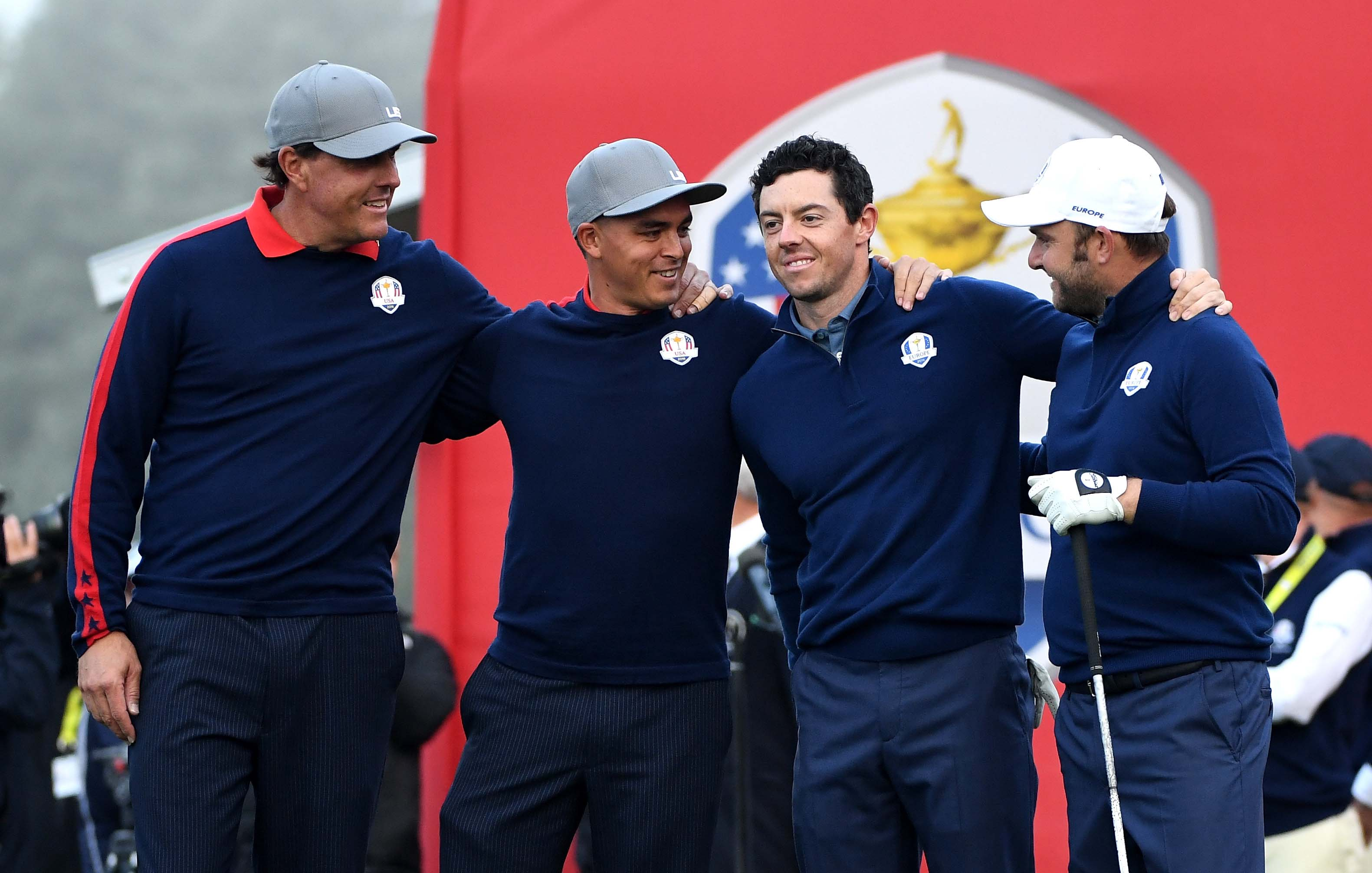 Phil Mickelson, Rickie Fowler, Rory McIlroy and Andy Sullivan