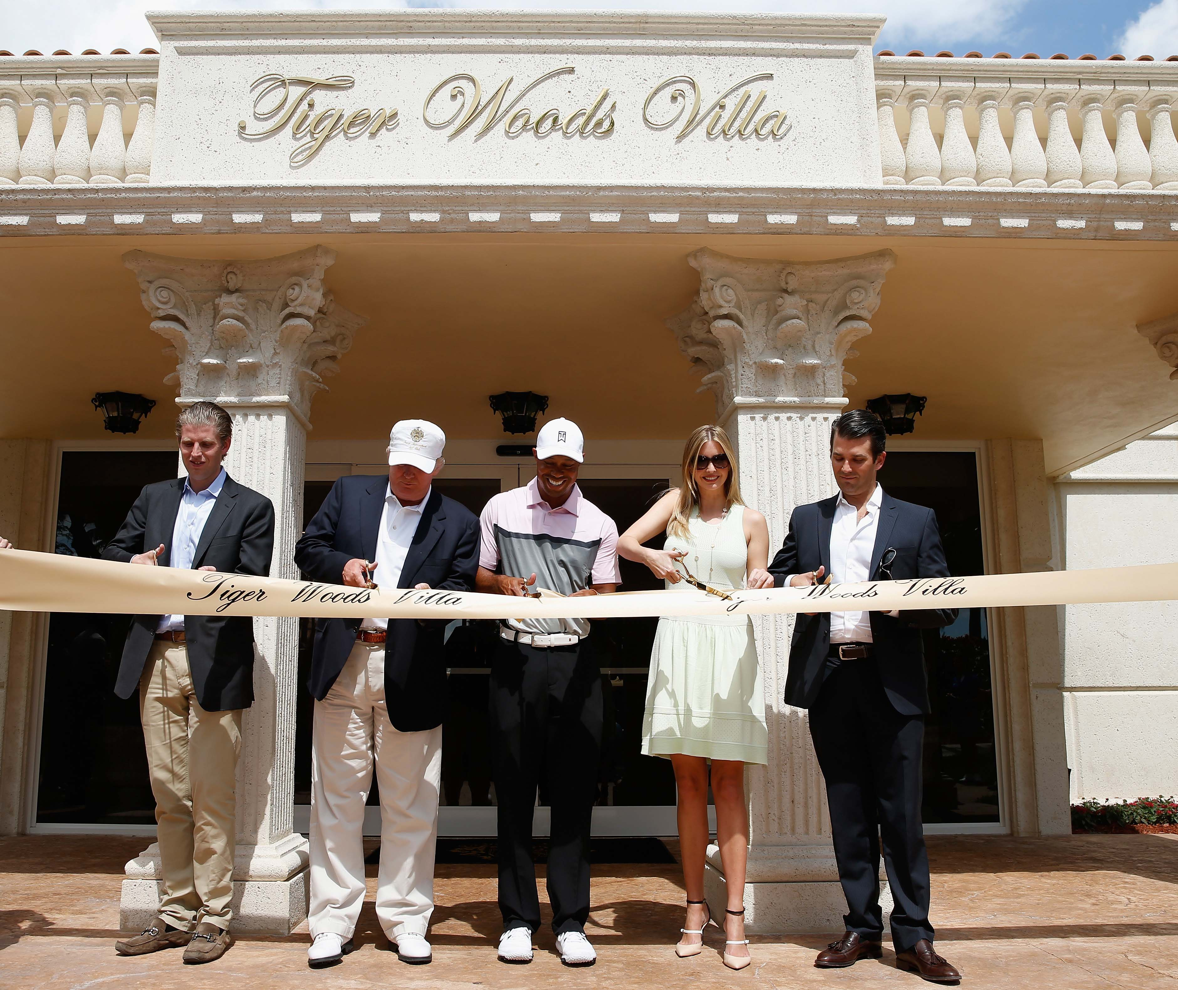 Eric Trump, Donald Trump, Tiger Woods, Ivanka Trump and Donald Trump Jr.