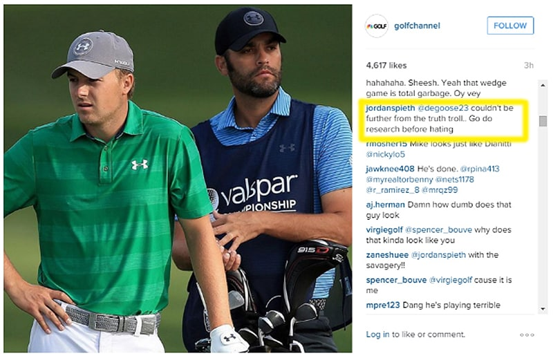 Spieth fires back in Instagram comments