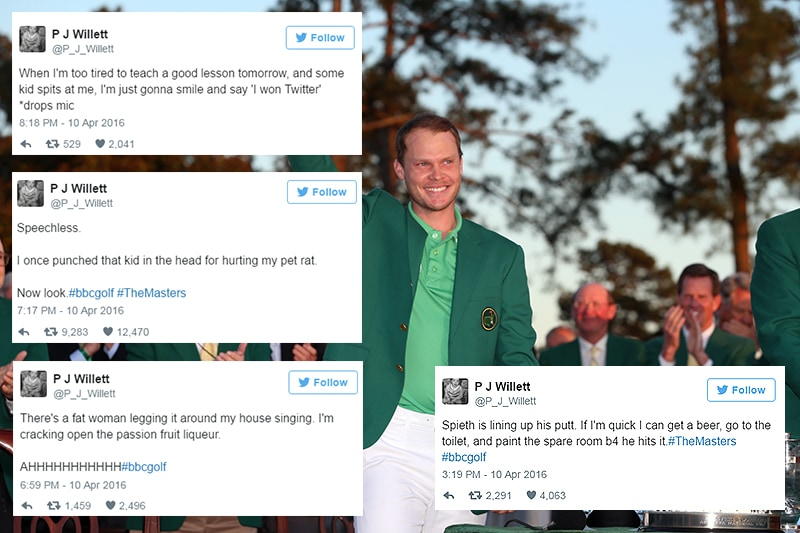 Danny Willett's brother live-tweets Masters final round