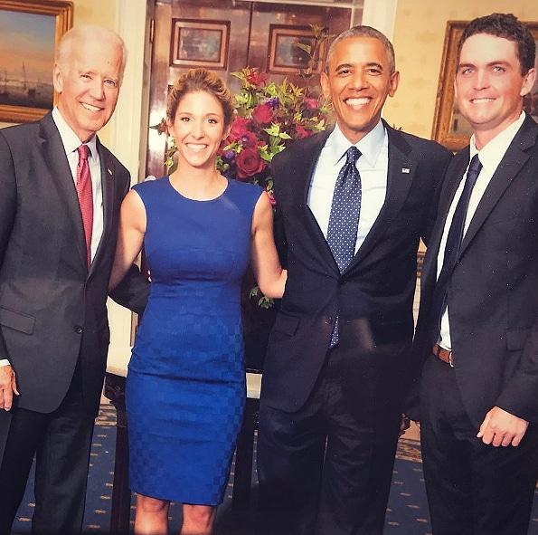 Keegan and Jillian Bradley with Barack Obama and Joe Biden