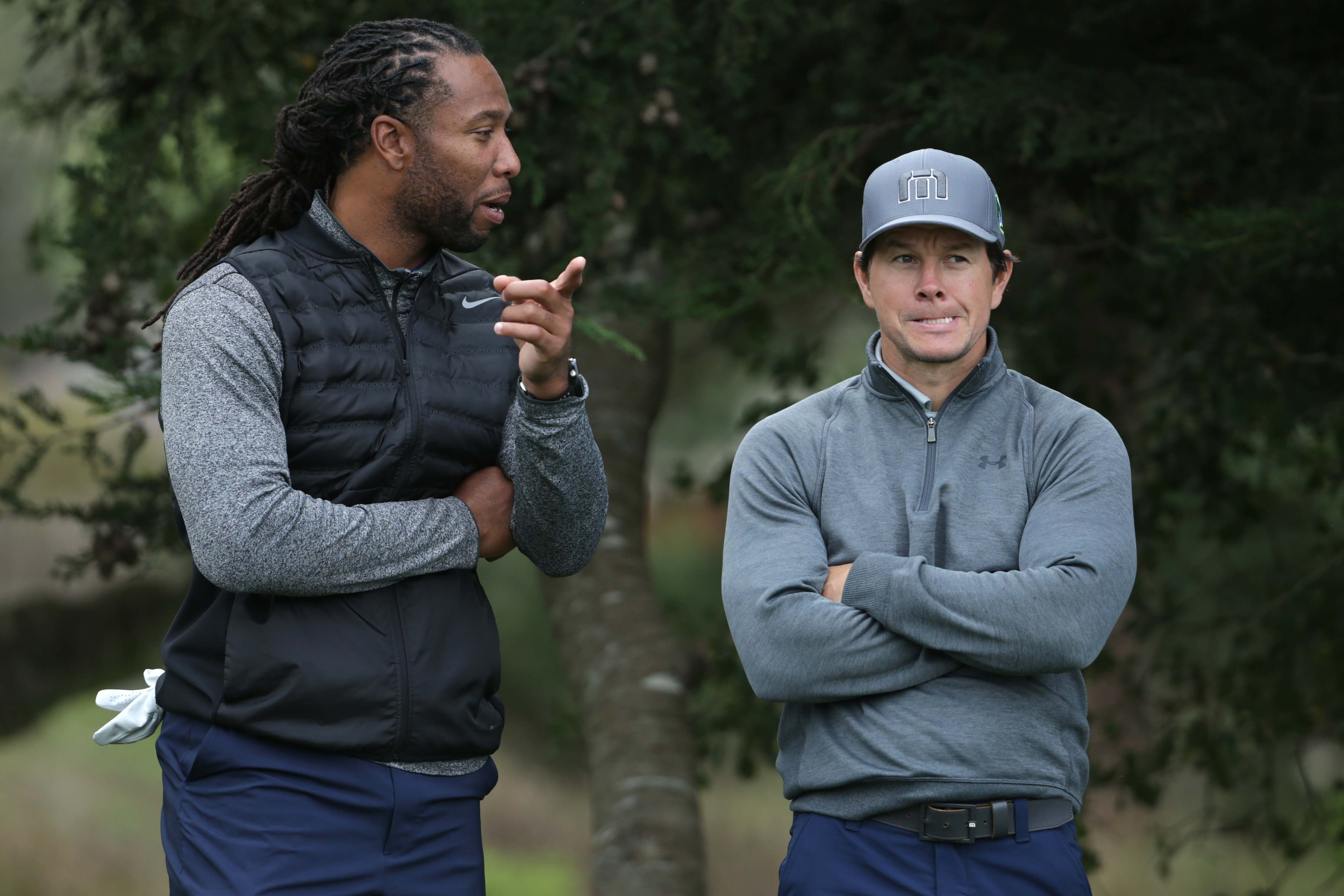 Larry Fitzgerald and Mark Wahlberg